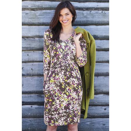 Adini Alpine Forest Print Fawn Dress - Grey