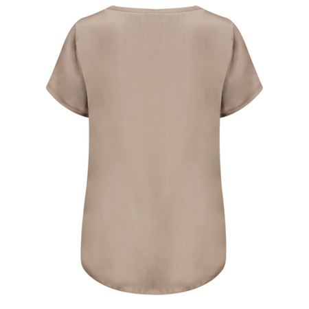 Yaya High Shine Woven Top - Beige