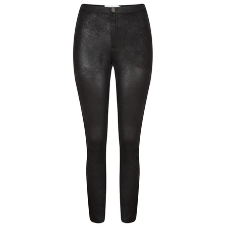 Yaya Faux Leather Jersey Treggings - Black