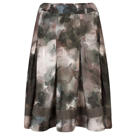 Myrine Anzar Satin Flower Print Skirt - Purple
