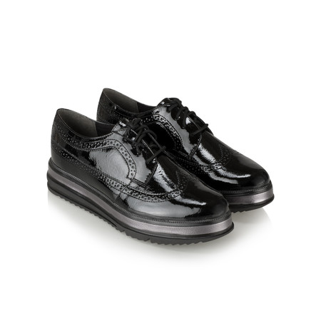 Tamaris  Heather Chunky Lace Up Shoe - Black