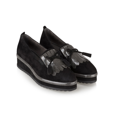 Tamaris  Demi Flatform Fringe Loafer - Black