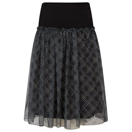 Myrine Laks Checked Skirt - Black