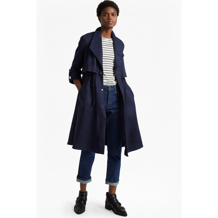 French Connection Patty Drape Flared Coat - Blue