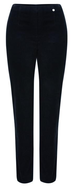 Robell Marie Navy Stretch Cotton Velvet Slim Full Length Trouser Navy