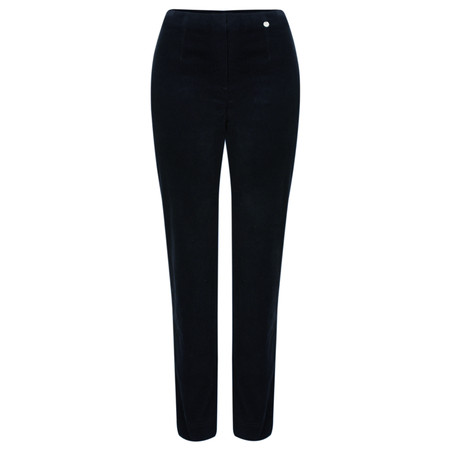 Robell Trousers Marie Stretch Velvet Slimfit Trouser - Blue