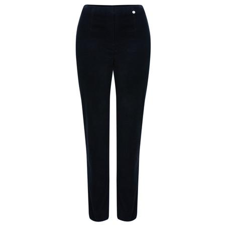 Robell Trousers Marie Stretch Cotton Velvet Slim Full Length Trouser - Blue