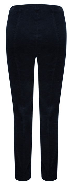 Robell Trousers Marie Stretch Cotton Velvet Slim Full Length Trouser Navy