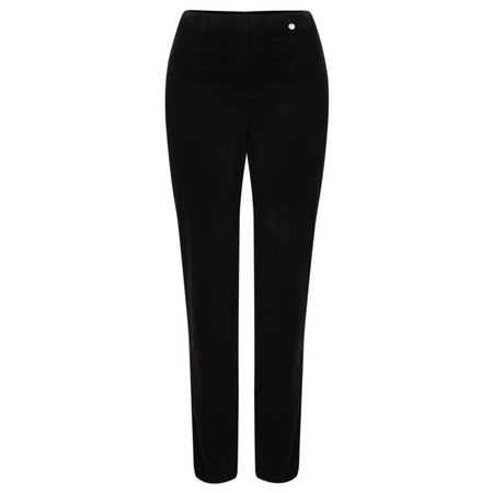 Robell  Marie Stretch Cotton Velvet Slim Full Length Trouser - Black