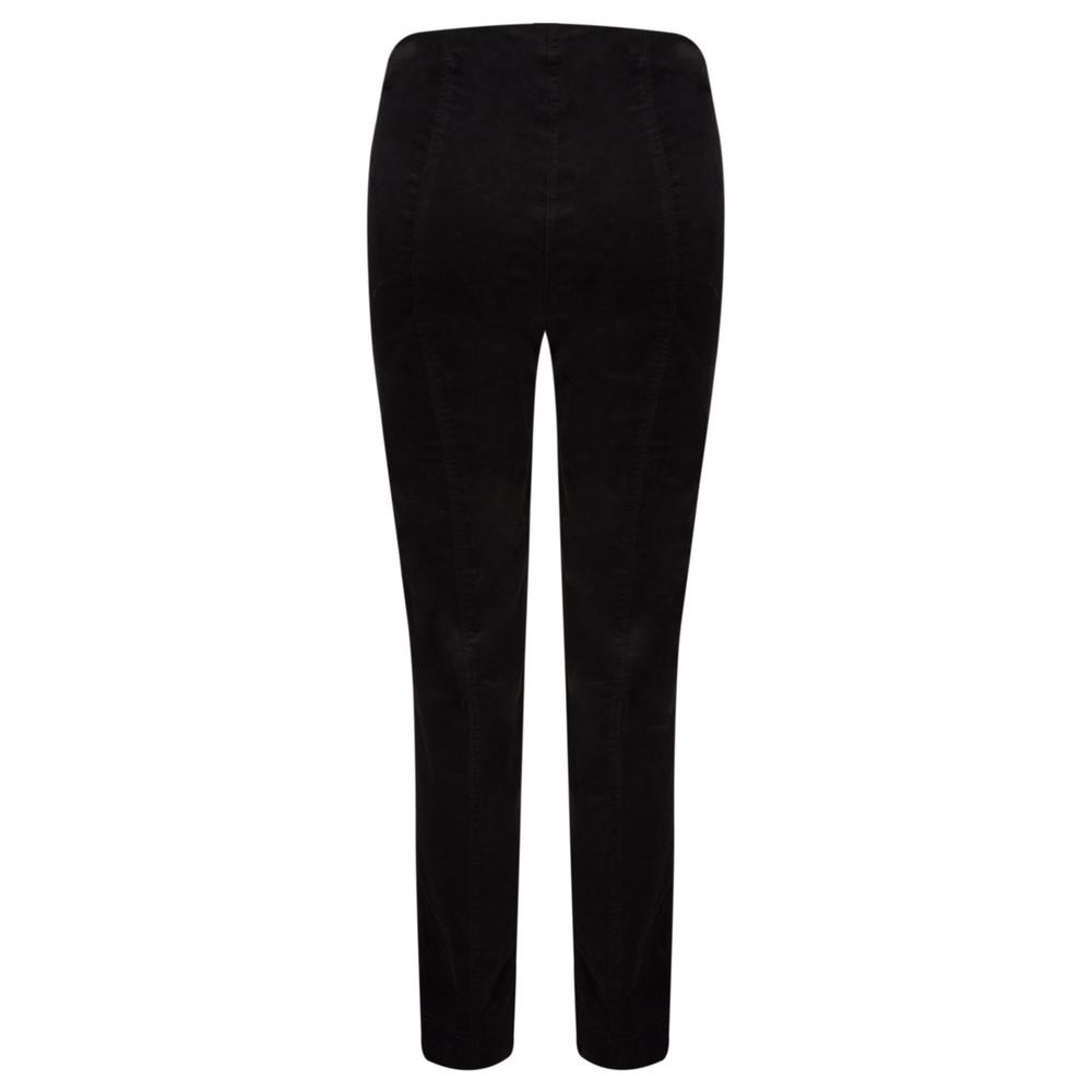 Robell Marie Black Stretch Cotton Velvet Slim Full Length Trouser Black