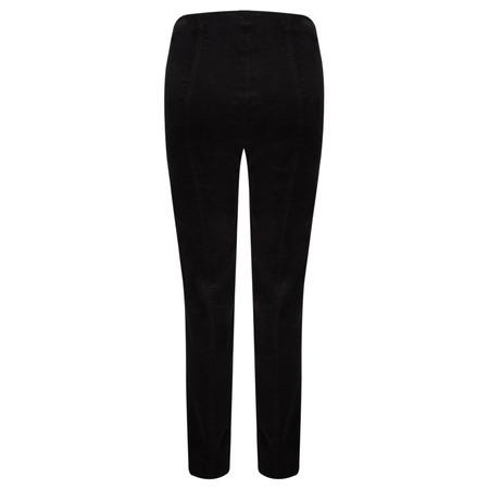 Robell Trousers Marie Stretch Cotton Velvet Slim Full Length Trouser - Black