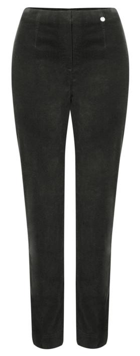 Robell Trousers Marie Stretch Cotton Velvet Slim Full Length Trouser Graphite