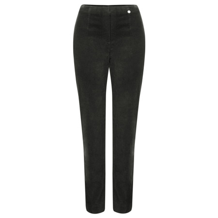 Robell  Marie Stretch Cotton Velvet Slim Full Length Trouser - Grey