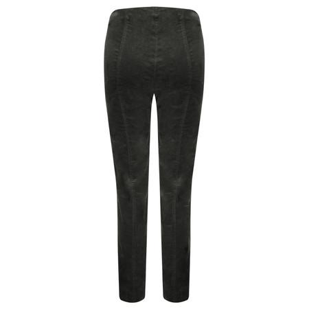 Robell Trousers Marie Stretch Cotton Velvet Slim Full Length Trouser - Grey
