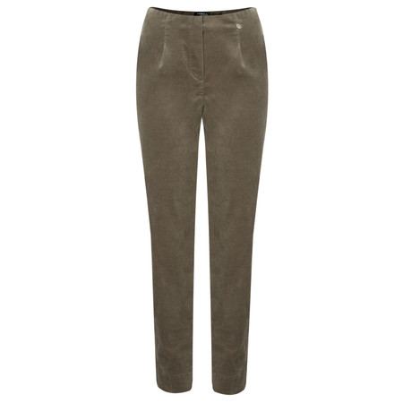 Robell Trousers Marie Stretch Cotton Velvet Slim Full Length Trouser - Beige