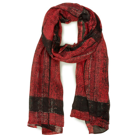 Sandwich Clothing Tartan Print Woven Scarf - Red