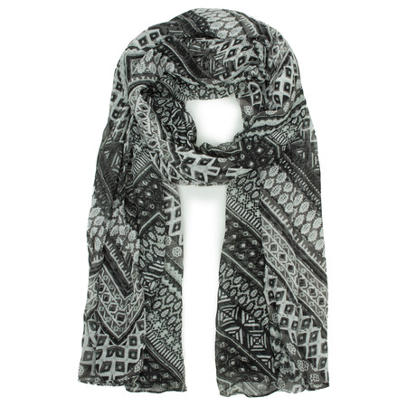 Sandwich Clothing Graphic Printed Triangle Scarf - Black
