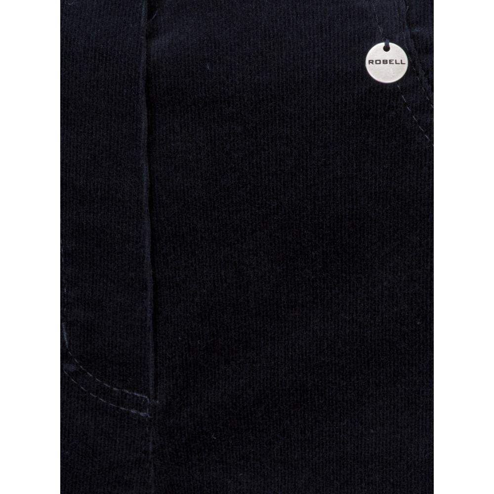 Robell Bella  Navy Needlecord Full Length Trouser Navy