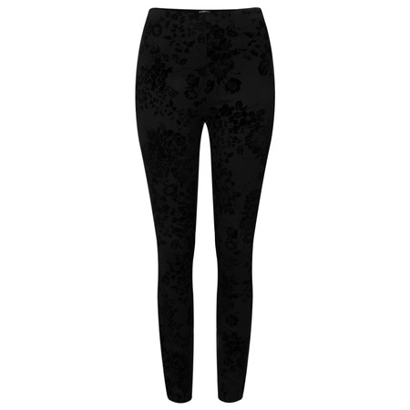 Robell Trousers Collette Floral Flocked Legging  - Black