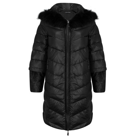 Lauren Vidal Russe Puffa Coat With Faux Leather Sleeve Detail - Black