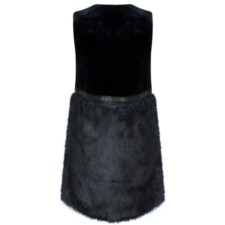 Lauren Vidal Even Split Fur Gilet - Blue