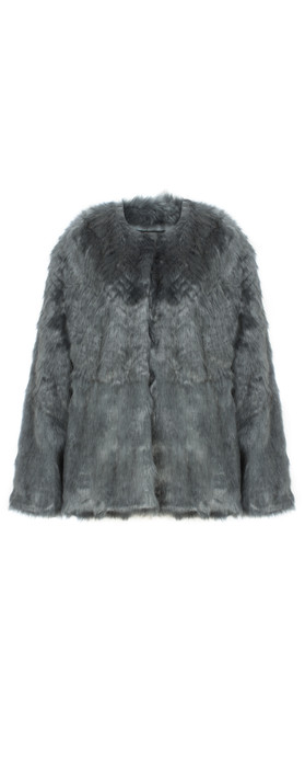 Lauren Vidal Riva Short Fur Jacket Bitume