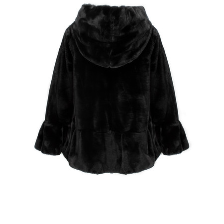 Lauren Vidal Riva Faux Fur Jacket with Hood - Black
