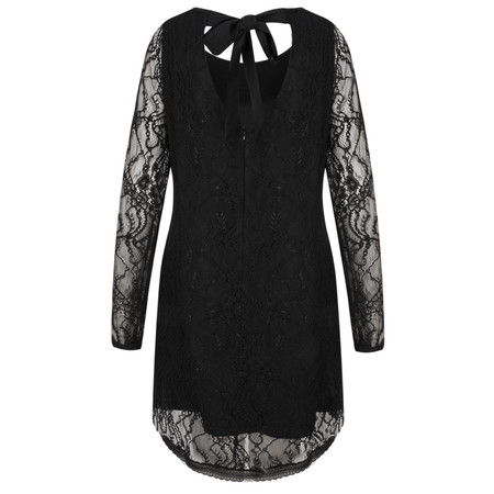 Lauren Vidal Lace Dress With Bow Back - Black