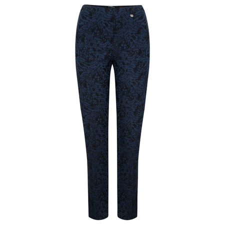 Robell Trousers Marie Abstract Animal Trouser - Navy/black