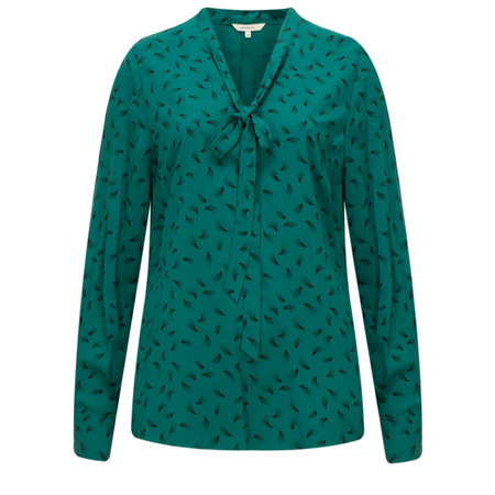 Sandwich Clothing Feather Print Tie Neck Blouse - Green