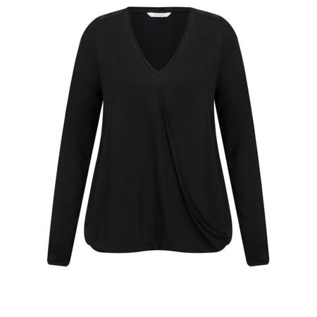Sandwich Clothing Drape Front Long Sleeve Top - Black