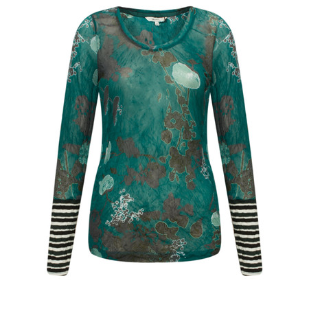 Sandwich Clothing Floral Print Fine Netting Top - Green