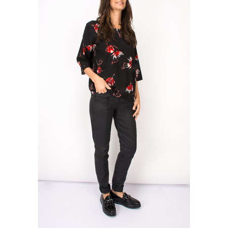 Sandwich Clothing Flower Print Woven Top - Black