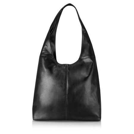 Pure White Roana Slouchy Leather Hobo Bag - Black