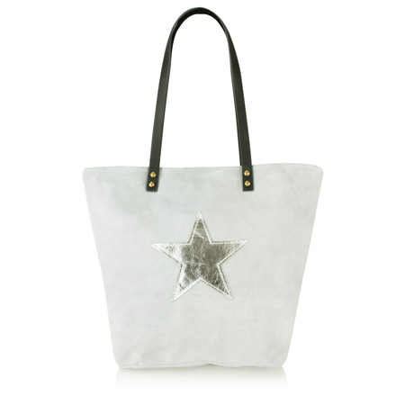 Liana Estelle Suede Shopper with Metallic Star - Grey