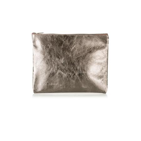 Pure White Cosmo Metallic Leather Bag - Metallic