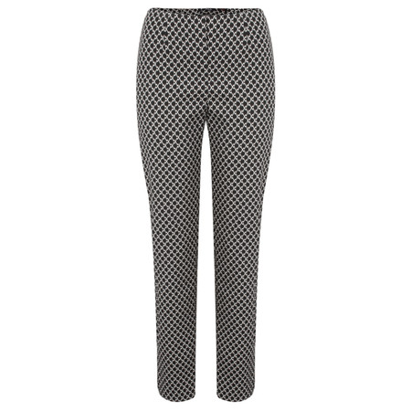 Robell Trousers Marie Zigzag Jacquard Slimfit Trouser - Beige