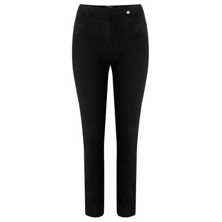 Robell Trousers Rose Stretch Faux Suede Trouser - Black