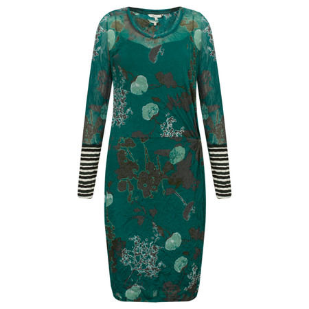 Sandwich Clothing Floral Print Ruched Waist Dress - Green