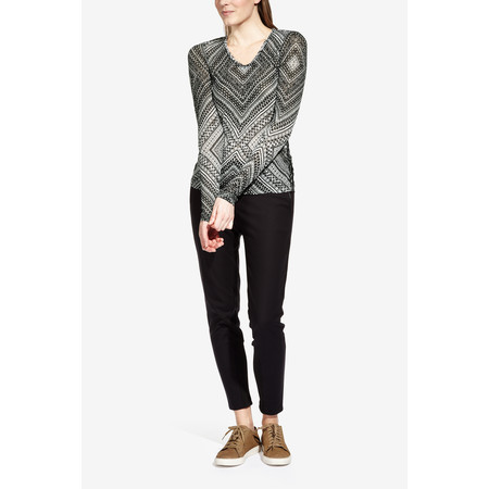 Sandwich Clothing Fine Netting Graphic Printed Top - Black