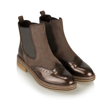 Marco Tozzi Anna Brogue Chelsea Boot - Brown