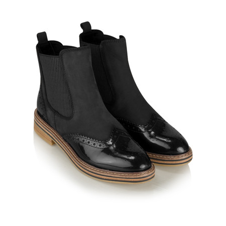Marco Tozzi Anna Brogue Chelsea Boot - Black
