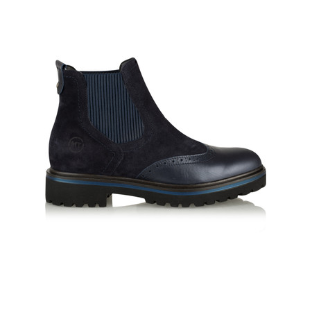 Marco Tozzi Martina Brogue Chelsea Leather Ankle Boot - Blue