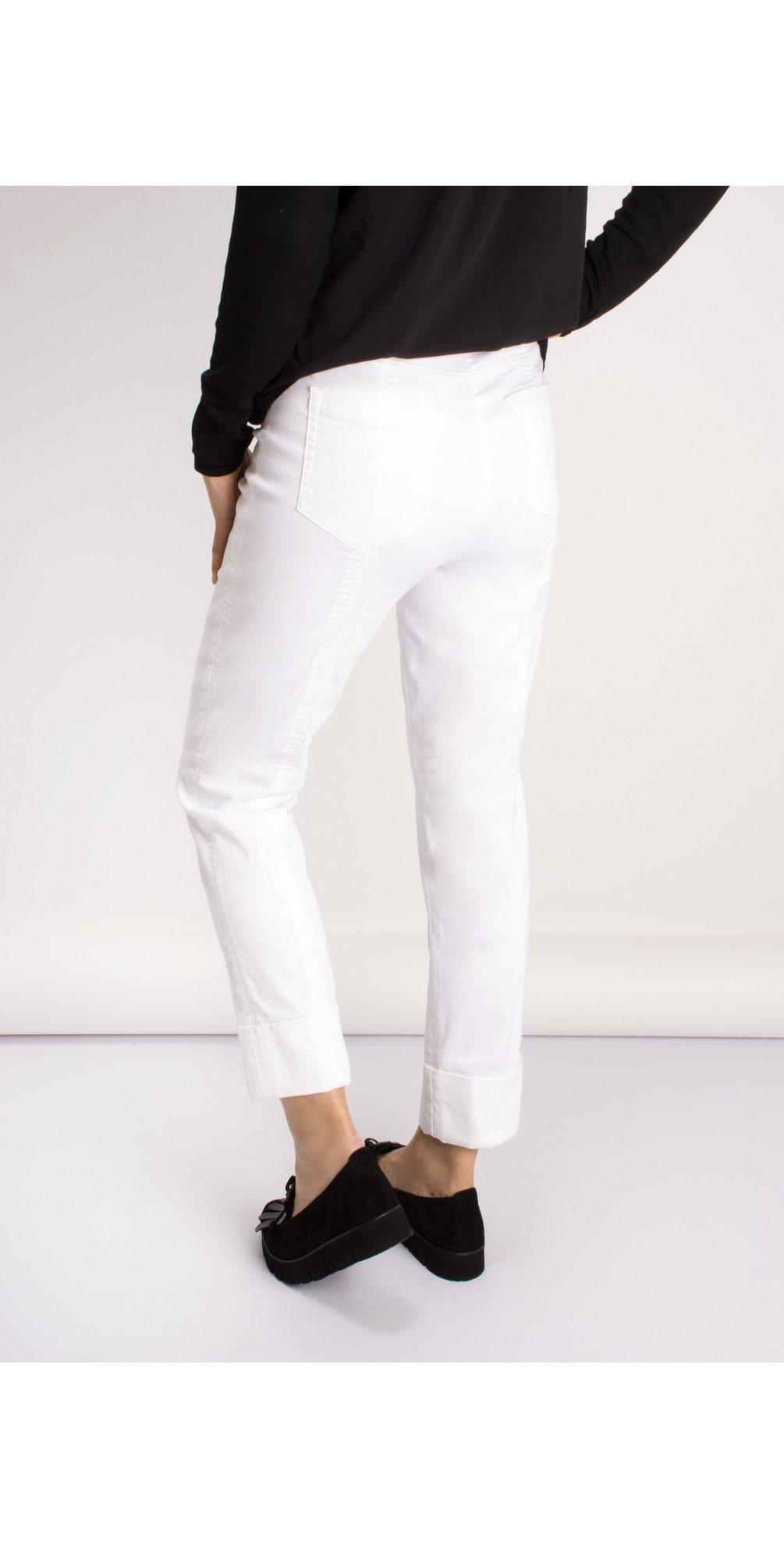 Bella 09 White Ankle Length Jean with Cuff main image