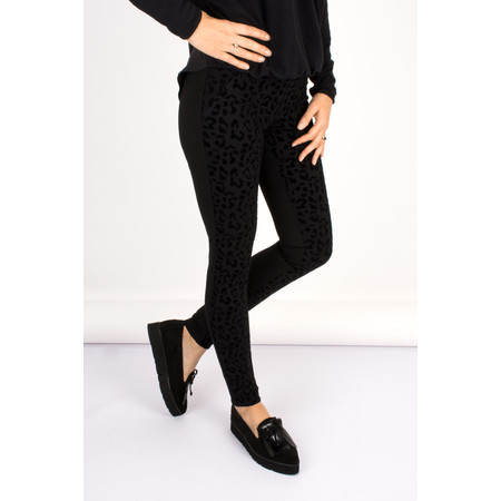 Robell Trousers Collette Animal Flocked Legging - Black