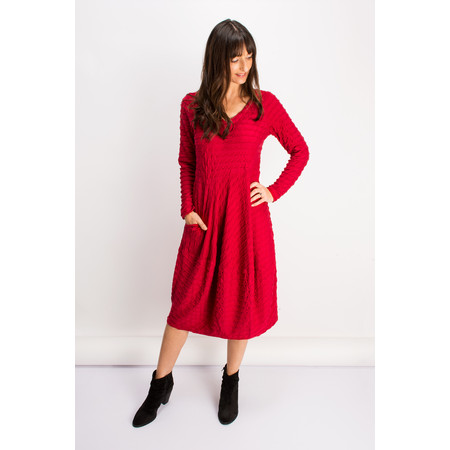 Sahara Twisted Ripple V-Neck Dress - Red