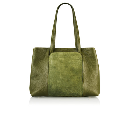 Pure White Rania Smart Leather Tote Bag - Green