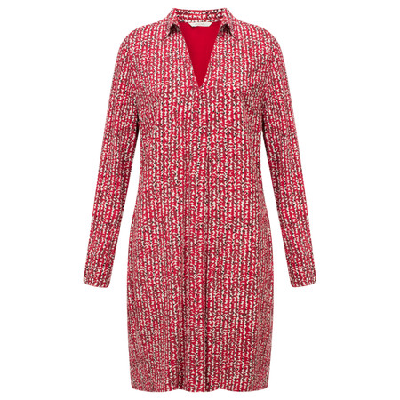 Sandwich Clothing Abstract Herringbone Shirt Dress - Red