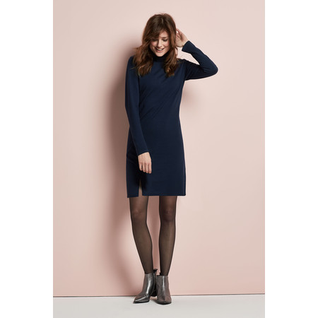 Sandwich Clothing High Neck Flat Knit Dress - Blue