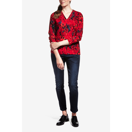 Sandwich Clothing Blurry Dot Print V Neck Top - Red